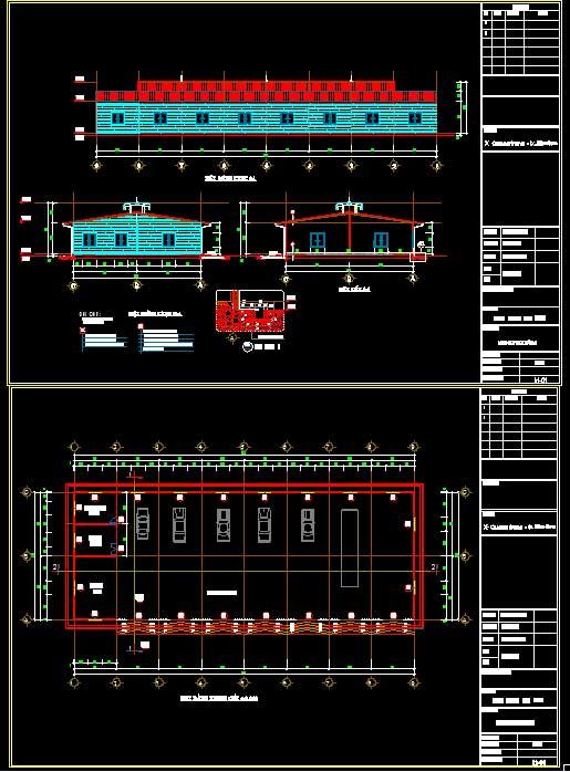 Hồ sơ thiết kế thi công Xưởng gara sửa chữa ô tô diện tích 18x48m