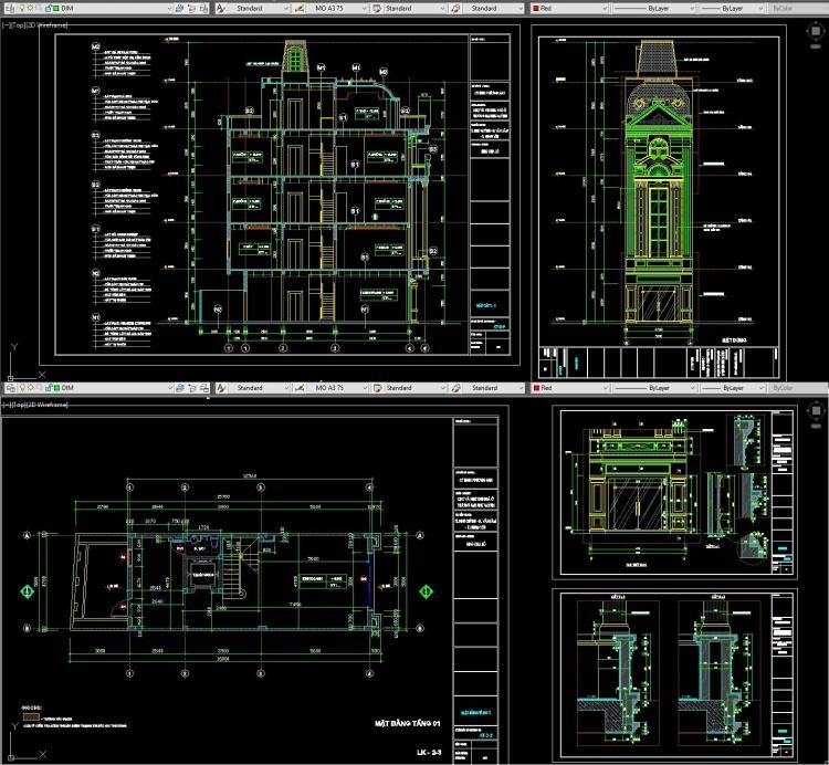 Hồ sơ thiết kế nhà phố 4,5 tầng diện tích 5x16m tân cổ điển pháp cổ 112 full bản vẽ kiến trúc
