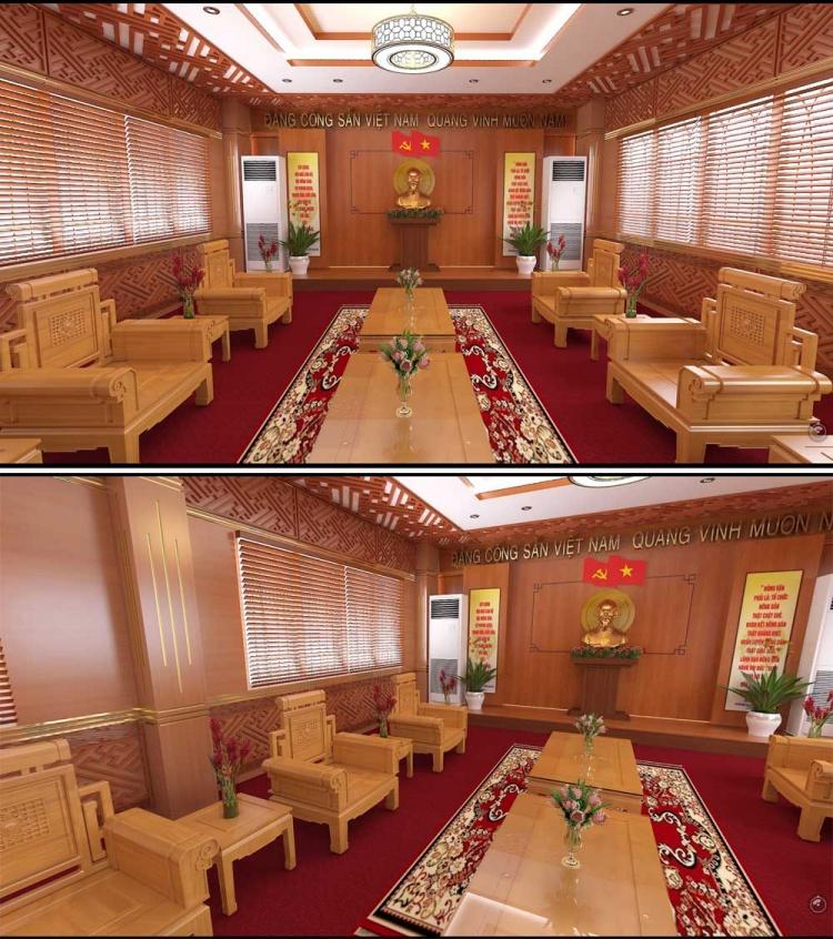 Phối cảnh 3d Nội thất Phòng họp ủy ban nhân dân 07