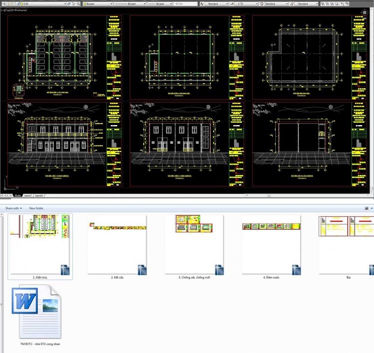 Hồ sơ thiết kế thi công nhà Ký túc xá công nhân 3 tầng M10 (gồm cả thuyết minh)