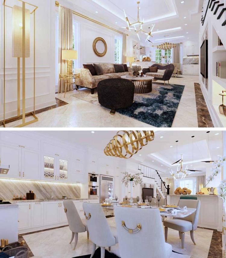 Phối cảnh nội thất 3D Phòng khách, Bếp ăn phong cách Tân cổ điển đẹp 00077