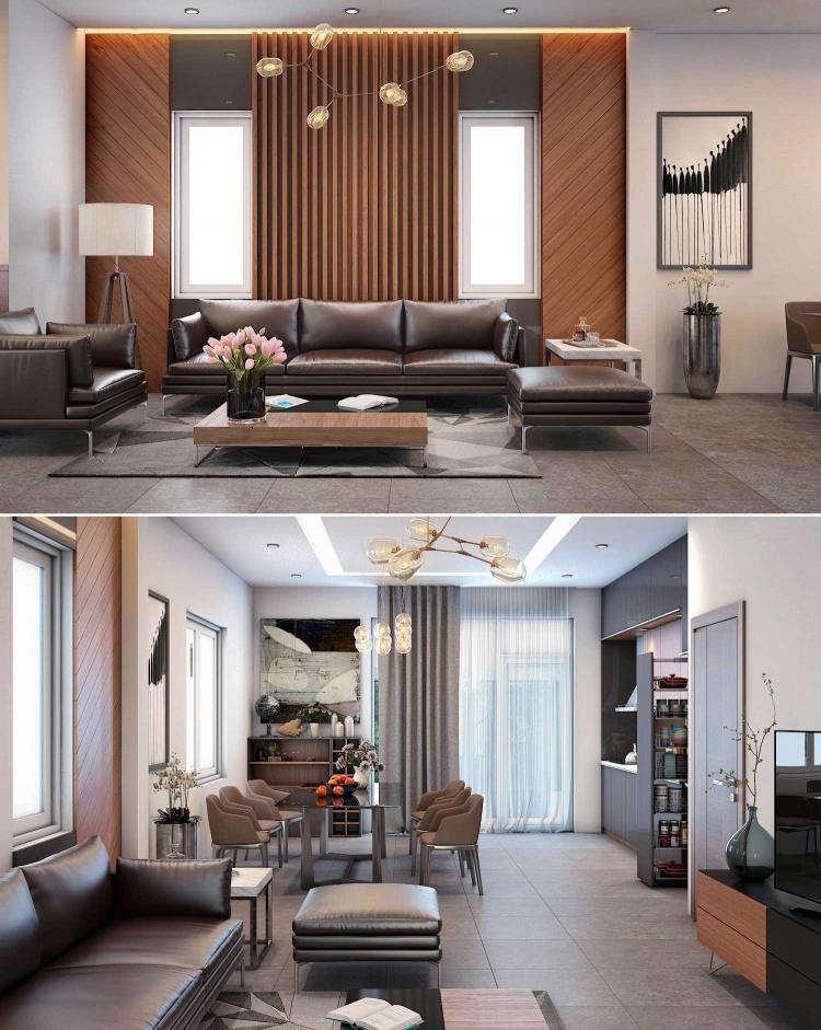 Phối cảnh nội thất 3D Phòng khách, Bếp ăn hiện đại đẹp 00078