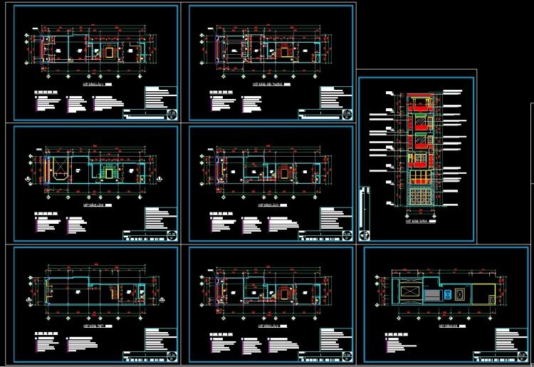 Hồ sơ thiết kế nhà phố 4 tầng diện tích 5x18m hiện đại 116 full bản vẽ kiến trúc, kết cấu, điện nước