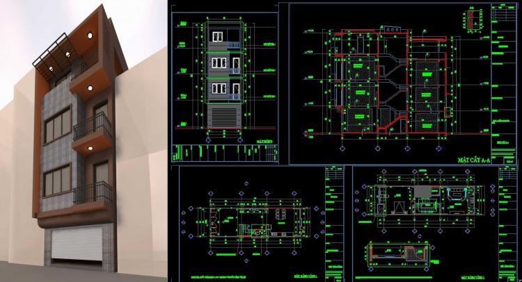 Hồ sơ thiết kế nhà phố 4 tầng diện tích 4,8x15m hiện đại 117 full bản vẽ kiến trúc