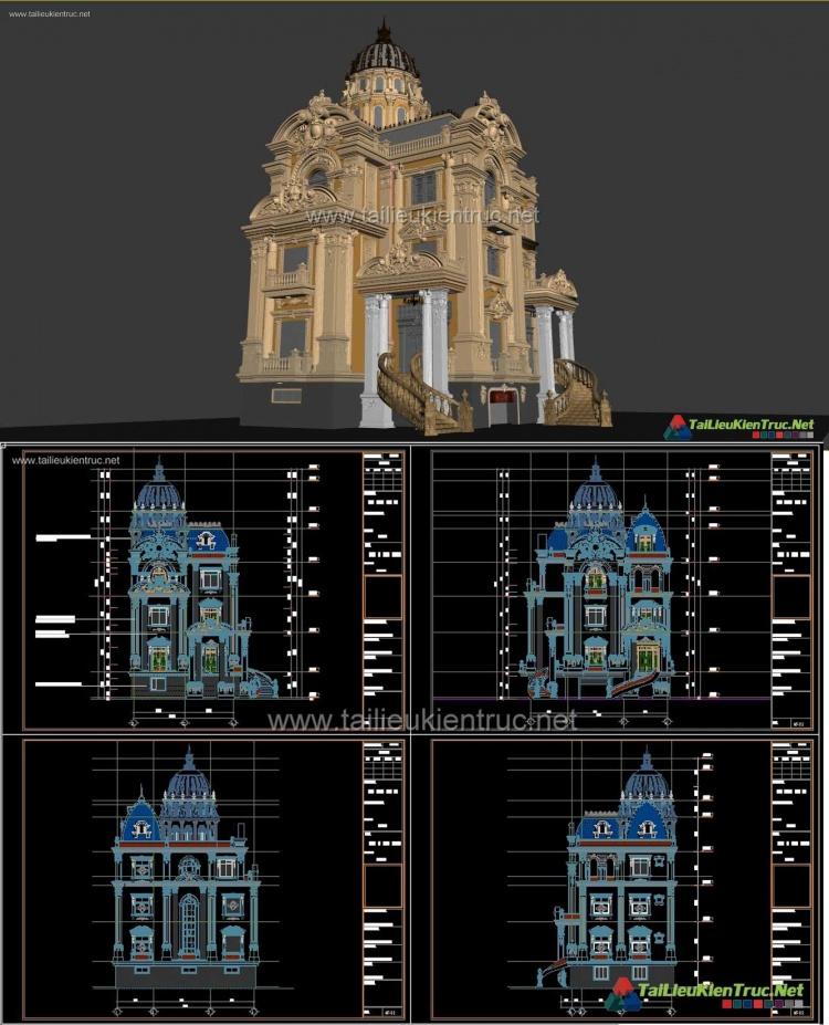 Hồ sơ thiết kế Biệt thự lâu đài 4 Tầng Tân cổ điển diện tích 11,8x14,5m - 0108 Full cad và 3d