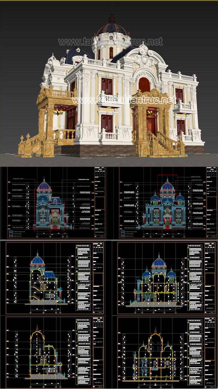 Hồ sơ thiết kế Biệt thự lâu đài 4 Tầng Tân cổ điển diện tích 12,3x16,7m - 0109 Full cad và 3d