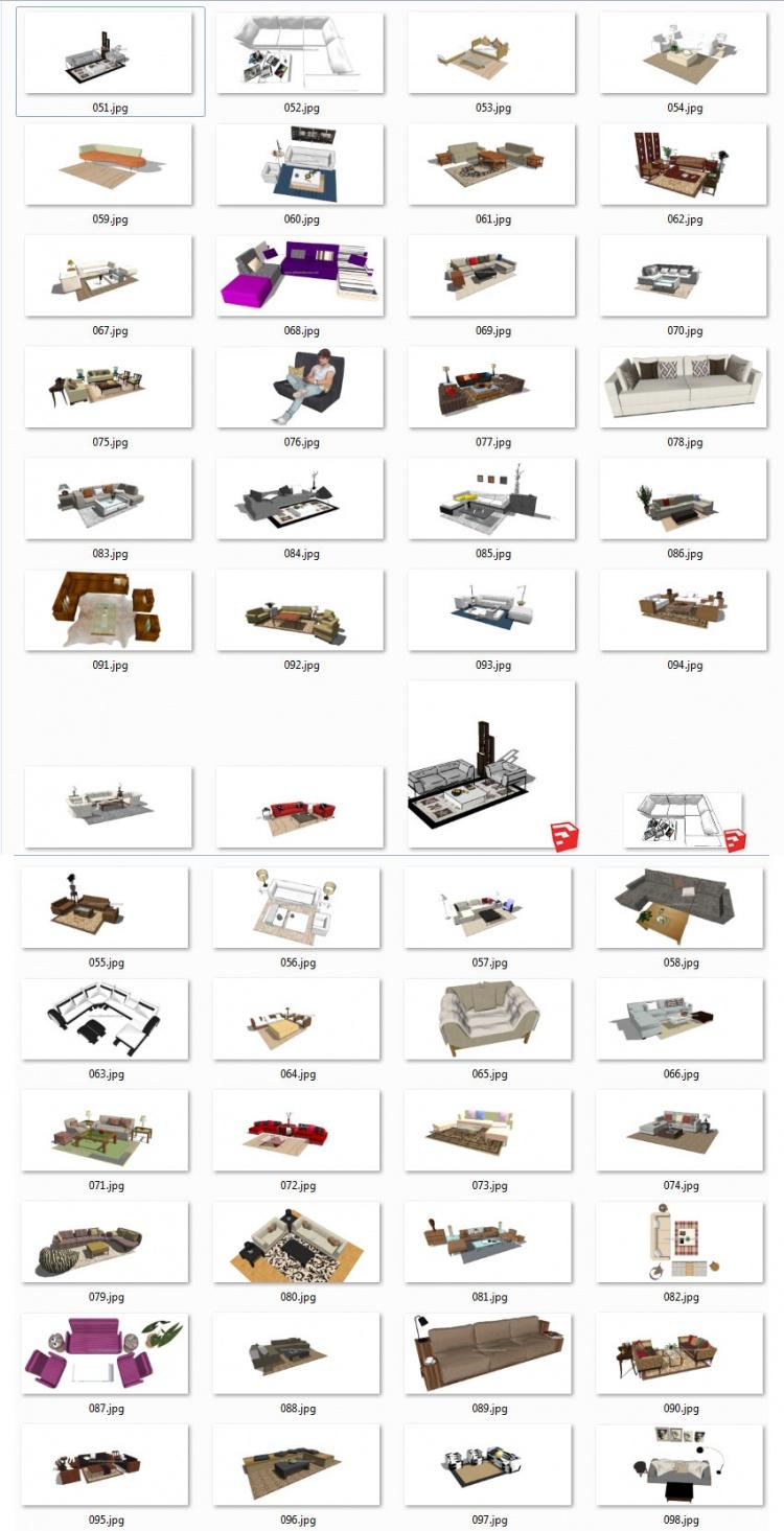Thư viện Sketchup - Tổng hợp 50 Model Ghế Sofa các loại chất lượng cao 003