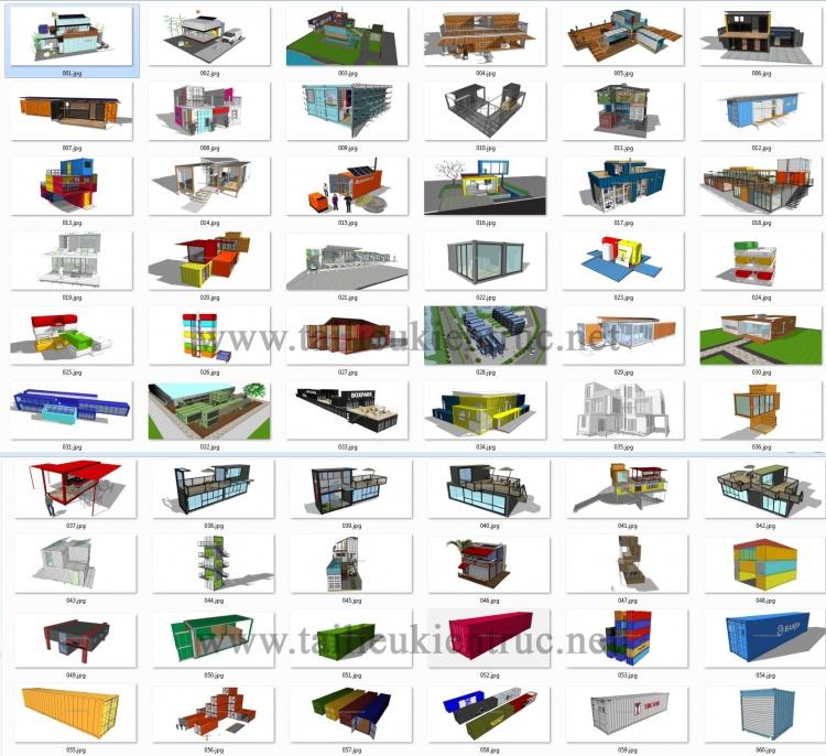 Thư viện Sketchup tổng hợp 60 Model về các thiết kế nhà Container P1