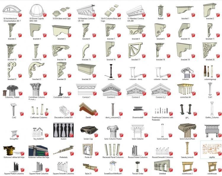 Tổng hợp 82 Model 3d chi tiết Phào, Chỉ, Đầu cột, Hoa văn, Phù điêu file Sketchup full