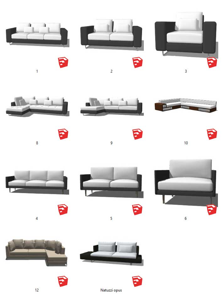 Tổng hợp 11 model 3d sketchup ghế Sofa download