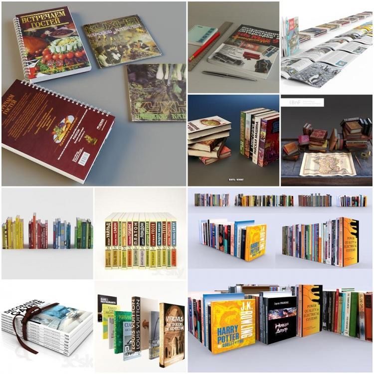 Thư viện 3dsMax tổng hợp về Model Sách, báo các loại P1