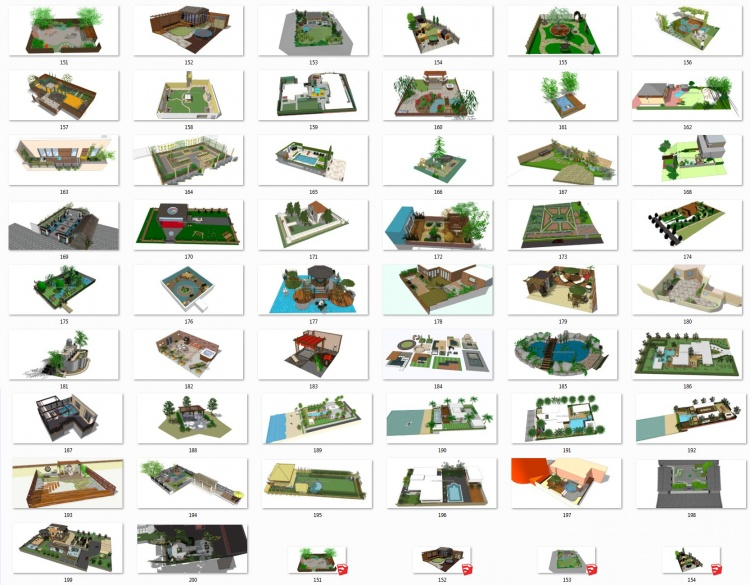 Tổng hợp 50 File Sketchup 3D Model Thiết kế cảnh quan sân vườn nhà phố, biệt thự Mẫu P4