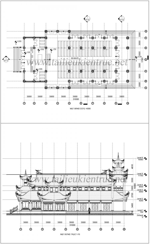 Hồ sơ Thiết kế nhà thờ giáo xứ phong cách phương đông diện tích 17x31m full các bản vẽ