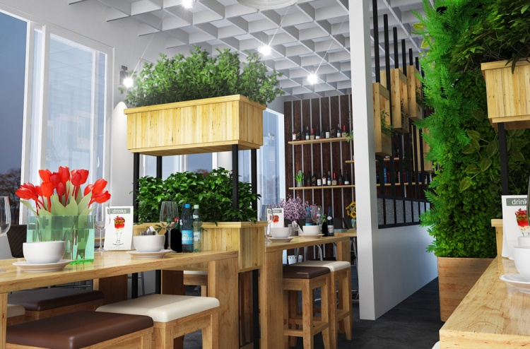 Phối cảnh nội thất quán Coffe and fast food 13