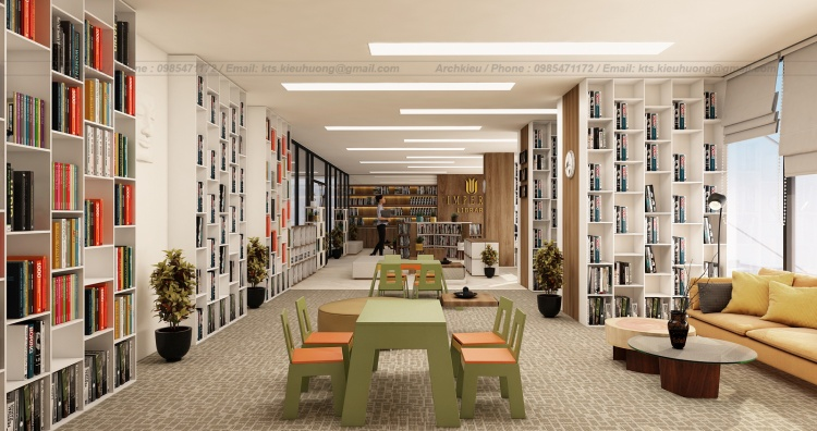 Phối cảnh 3d nội thất thiết kế Thư viện Sách