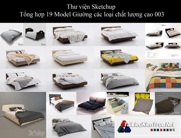 Thư viện Sketchup - Tổng hợp 19 Model Giường các loại chất lượng cao