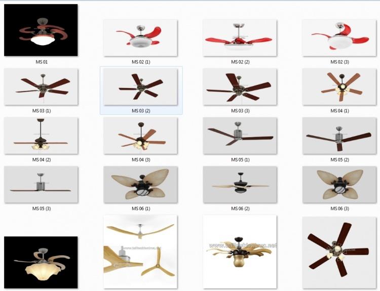 Thư viện 3d tổng hợp 10 Model về quạt trần ROYAL file 3dsmax full download