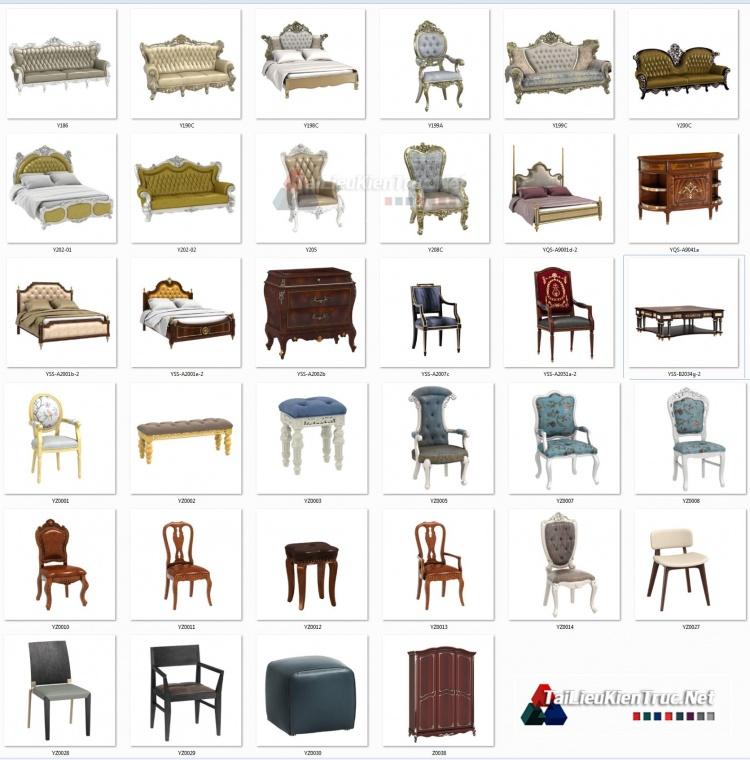 Thư viện 3D tân cổ điển tổng hợp 33 Model 3dsmax về Giường, sofa, bàn ghế, tủ, kệ chất lượng cao