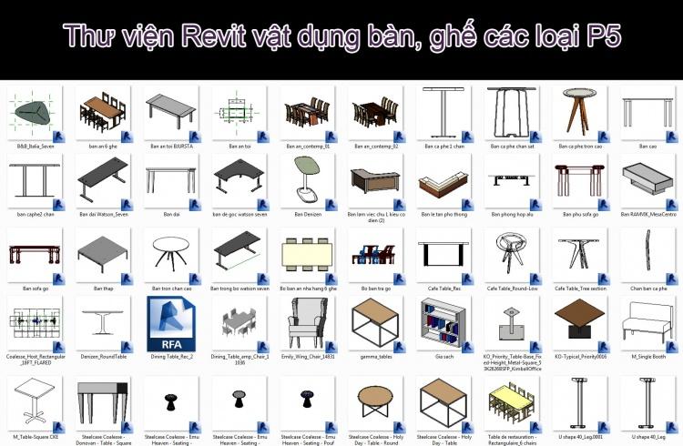 Thư viện Revit vật dụng bàn, ghế các loại P5 trong thiết kế nội thất