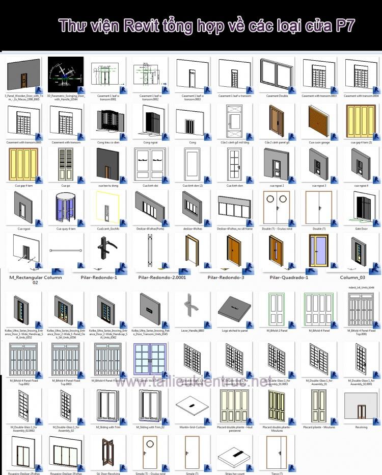 Thư viện Revit tổng hợp về các loại cửa P7