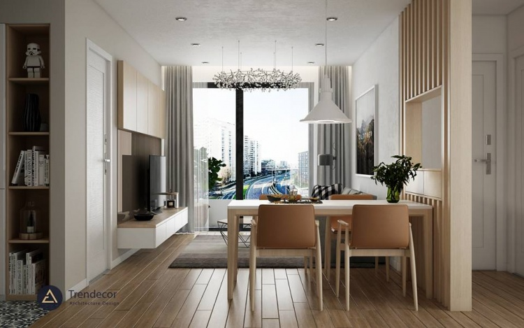 Phối cảnh nội thất 3D Max Nội thất chung cư gồm Phòng khách, Bếp ăn 00088