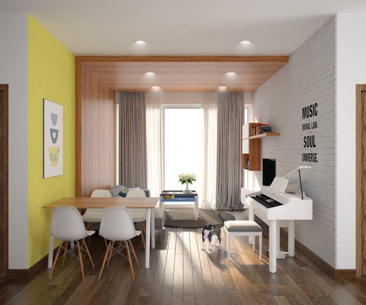 Phối cảnh nội thất 3D Max Nội thất chung cư gồm Phòng khách, Bếp ăn 00089