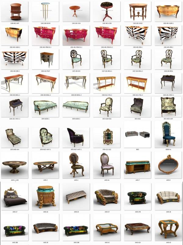 Tổng hợp thư viện 43 Model 3dsmax Tân cổ điển về bàn ghế, sofa, đôn, kệ tivi full