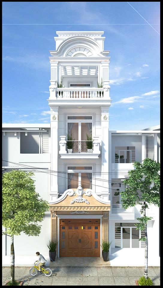 Thư viện 3d Sketchup Phối cảnh công trình Nhà phố 4 tầng phong cách Tân cổ điển pháp cổ 037