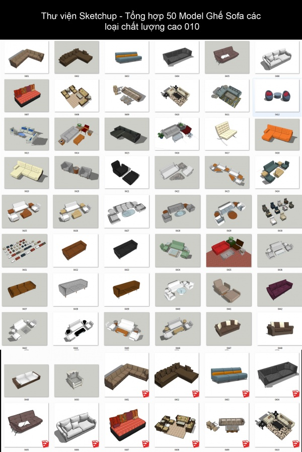 Thư viện Sketchup - Tổng hợp 50 Model Ghế Sofa các loại chất lượng cao 010