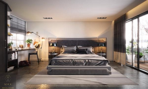 Phối cảnh phòng ngủ phong cách Hiện đại đẹp full file Max 00084