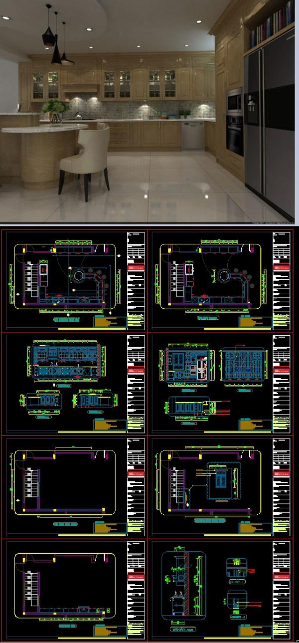 Thư viện autocad file cad bổ kỹ thuật nội thất Bếp mẫu