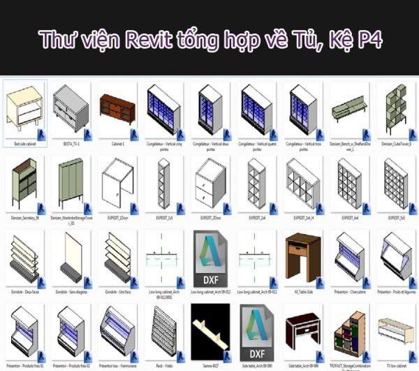 Thư viện Revit vật dụng Tủ kệ tổng hợp các loại P4
