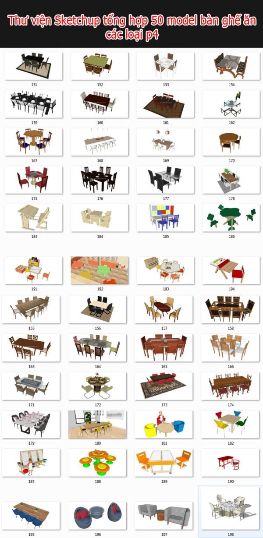 Thư viện 3d sketchup Tổng hợp 50 Model bàn ghế phòng ăn full P4