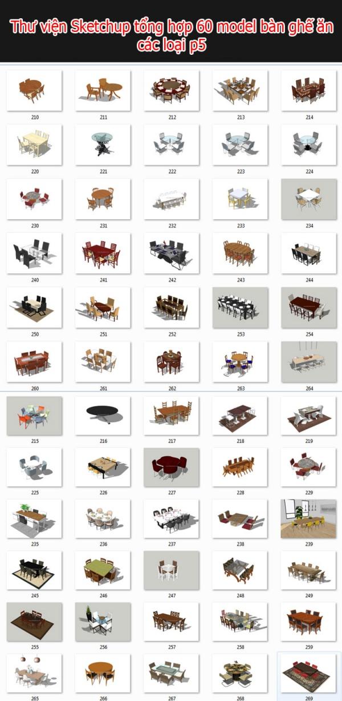 Thư viện 3d sketchup Tổng hợp 60 Model bàn ghế phòng ăn full P5