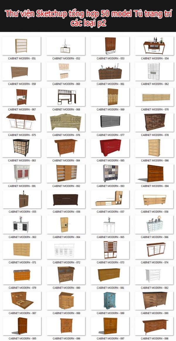 Thư viện 3d sketchup Tổng hợp 50 Model về tủ trang trí các loại P2