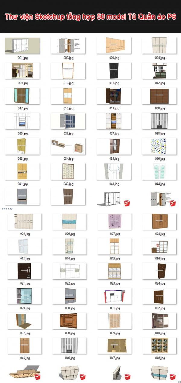 Thư viện 3d sketchup Tổng hợp 50 Model về Tủ Quần áo P6