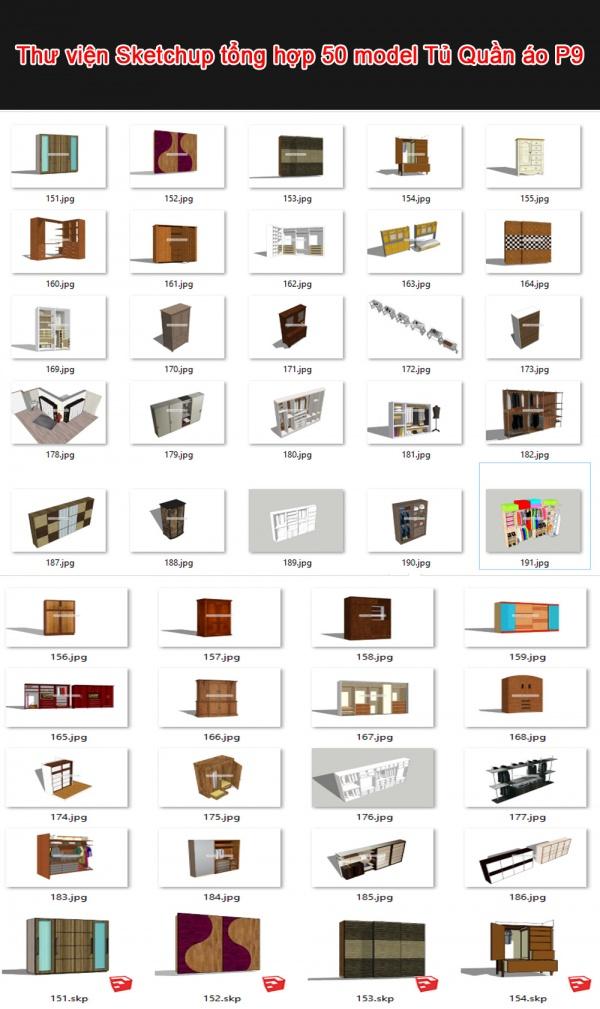 Thư viện 3d sketchup Tổng hợp 50 Model về Tủ Quần áo P9