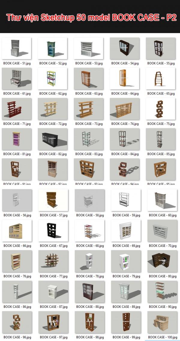 Thư viện 3d sketchup Tổng hợp 50 Model BOOK CASE - P2
