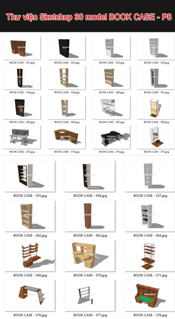 Thư viện 3d sketchup Tổng hợp 30 Model BOOK CASE - P8
