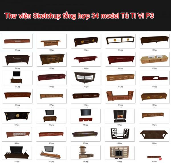 Thư viện 3d sketchup Tổng hợp 34 Model TV Cabinet P3