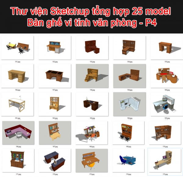 Thư viện 3d sketchup Tổng hợp 25 Model Bàn ghế văn phòng P4