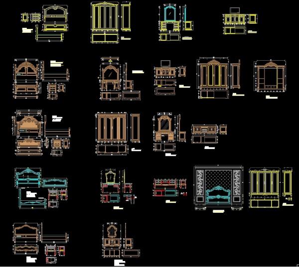 Thư viện bản vẽ autocad đồ đạc giường, tủ, kệ, gương Tân cổ điển các loại full