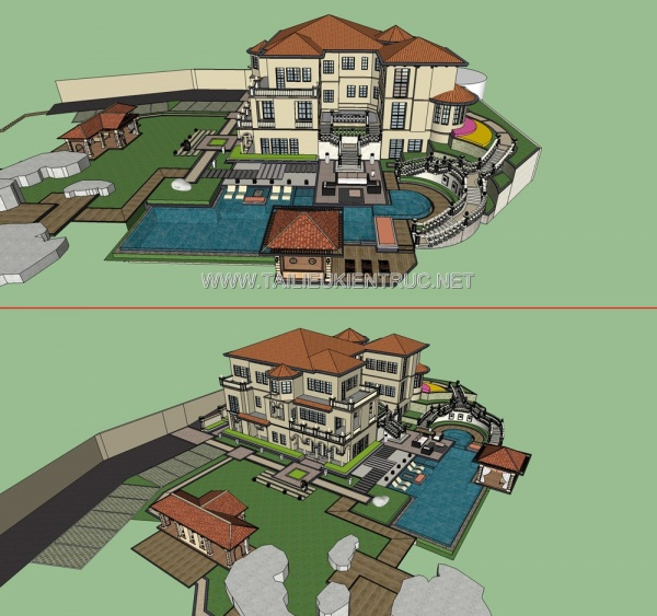 Phối cảnh 3d file Sketchup thiết kế Biệt thự full có bể bơi 042