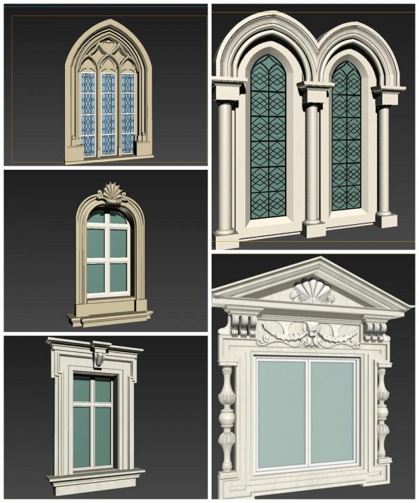 Thư viện 3d tổng hợp 5 model khung cửa sổ cổ điển Châu âu