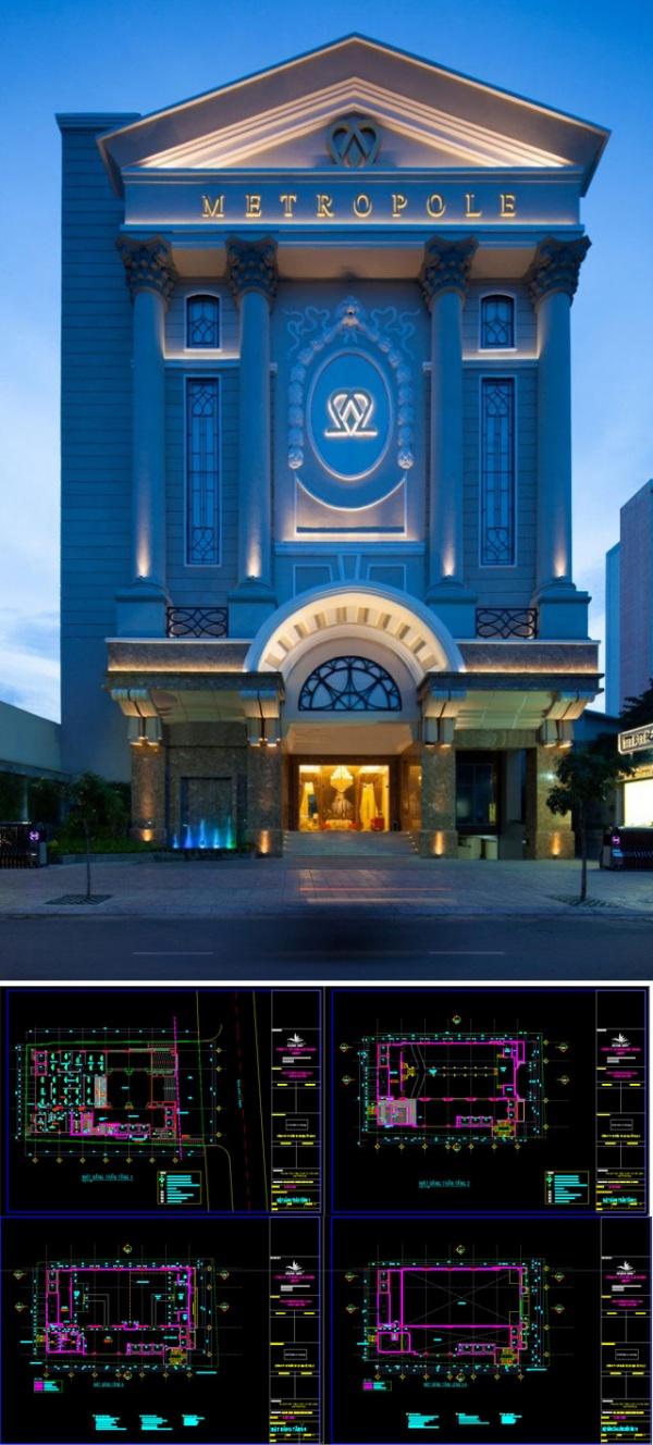 Hồ sơ thiết kế Nhà hàng tiệc cưới Metropole Ly Chinh Thang Q3 - TpHCM Full file Autocad