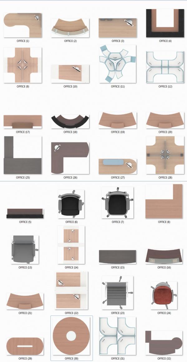 Thư viện mặt bằng Photoshop tổng hợp về Các loại bàn ghế Văn phòng 014 download