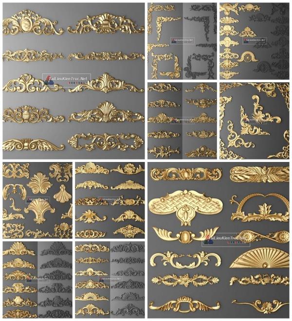 Thư viện 3D tân cổ điển tổng hợp 10 Model 3dsmax về chi tiết Hoa văn phù điêu cực đẹp chất lượng cao