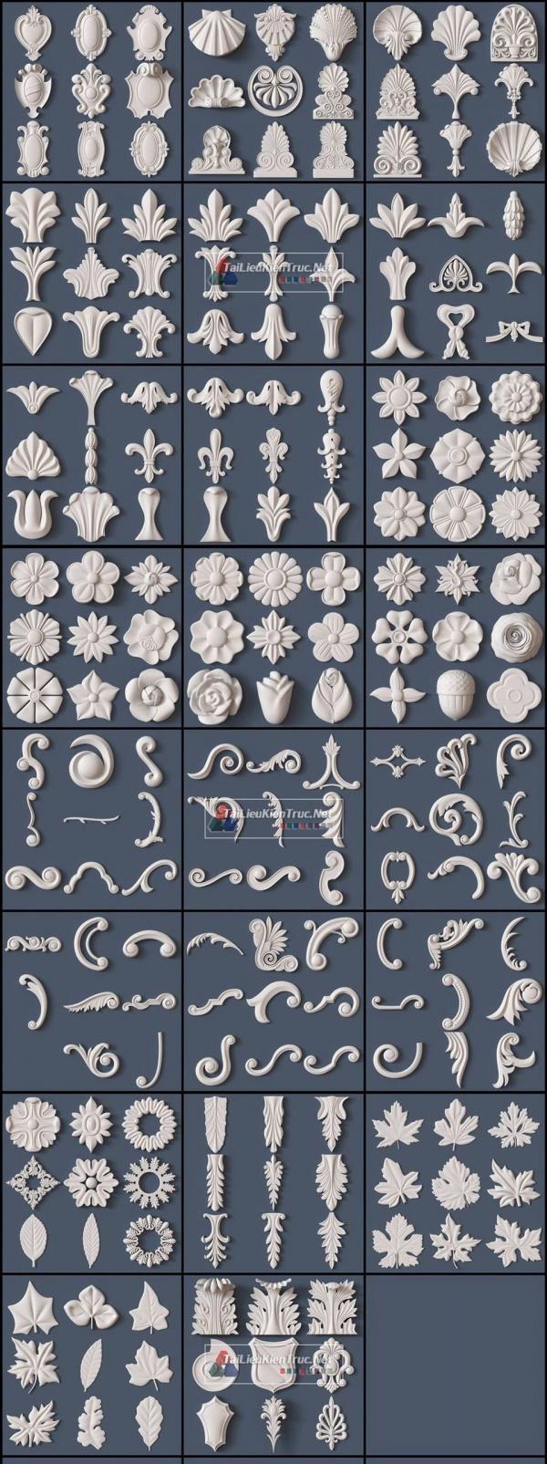 Thư viện 3D tân cổ điển tổng hợp 218 Model 3dsmax về chi tiết Hoa văn phù điêu cực đẹp chất lượng cao