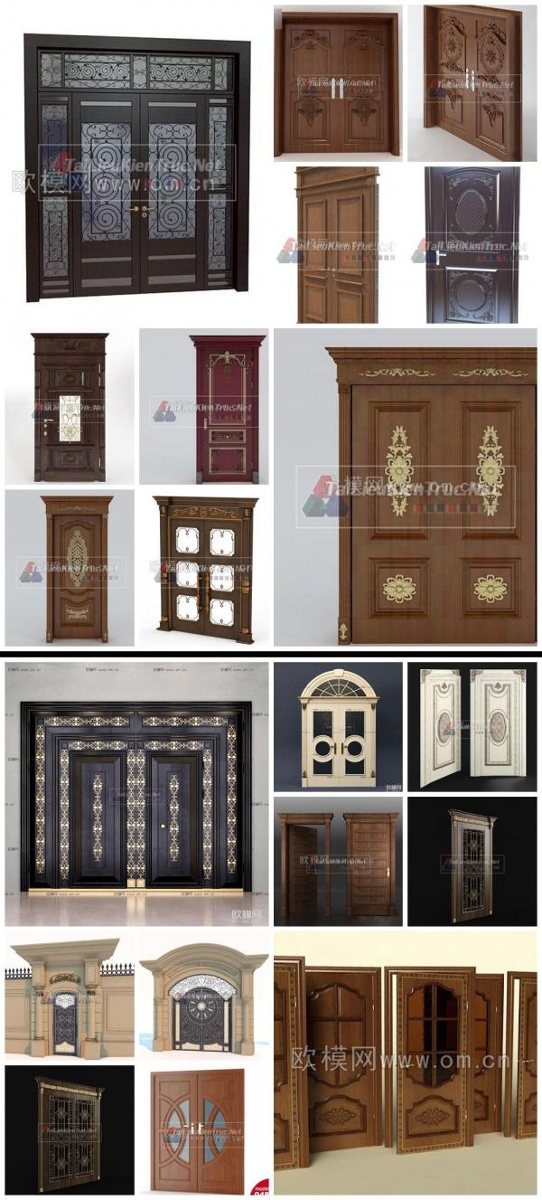 Thư viện 3d tổng hợp 20 model cửa gỗ đẹp các loại cổ điển Châu âu P13