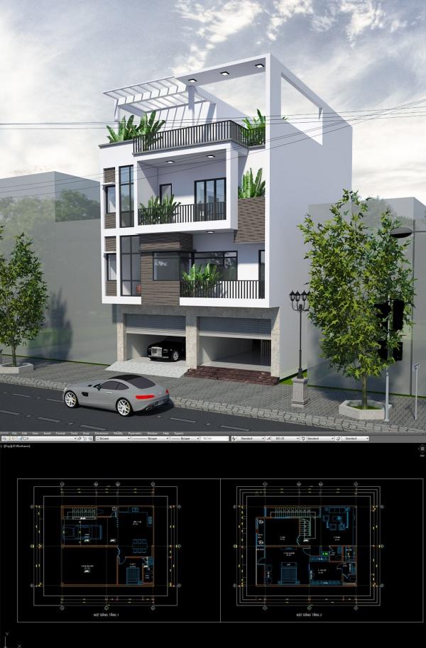 Hồ sơ thiết kế sơ bộ Nhà Phố 3 tầng Bắc Ninh kích thước sử dụng 10x11,5m 126